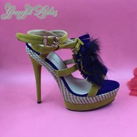 2016 Hochzeit Schuhe Real Image Custom Made Plus Size High Heels Brautschuhe Feather Buckle Strap Real Image Sommer Style Sandalen