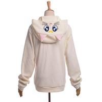 anime cosplay kostüme seemann mond großhandel-Frauen Nette Katze Luna Zip Hoody Sailor Moon Cosplay Kostüm Niedlich Sweatshirt Hoodies Weiß / Lila Hohe Qualität