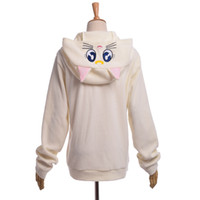 Wholesale Women Cute Cat Luna Zip Hoody Sailor Moon Cosplay Costume Cute Sweatshirt Hoodies White Purple High Quality