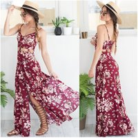 Wholesale Sexy Harness Dress - Free Shipping Fashion casual single-breasted dress, sexy split v-neck red wine plant printing harness holiday skirt