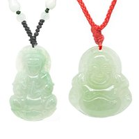 Wholesale Smiling Buddha Pendant - Flammable volcano genuine natural a jade Guanyin smiling Buddha Pendant JA0002 JB0002 lovers