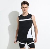 Wholesale riding sport shirt - New men's tights running fast-moving sports t-shirts outdoor riding fitness clothes sleeveless leisure sports suit