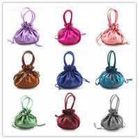 Wholesale Satin Drawstring Large - Sequins Embroidered Tote Coin Purse Large Gift Packaging Bags Handle Drawstring Satin Fabric Storage Pouch Mobile Phone Wallet Pocket