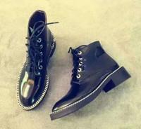 Wholesale Leather Lace Trim - VOGUE CHOICES! U471 BLACK GENUINE LEATHER CHAIN TRIM LACE UP FLAT SHORT BOOTS