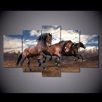 cuadros de pavo real enmarcado al por mayor-5 Unids / set No Enmarcado HD Animales Impresos corriendo caballo pintura cuadro de arte de la pared Impresión de la Lona decoración de la habitación cartel lienzo pavo real pintura