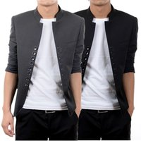 Wholesale Chinese Fashion Tunic - Fashion Design Men retro collar Chinese tunic suit Fashion woollen solid coat Casual Long sleeve outerwear