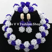conjunto completo de joyas al por mayor-Nigerian Wedding African style Beads blanco azul real Conjunto de joyería Cuentas completas Chunky Bib Mujeres Party Jewelry Set Envío gratis
