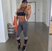 Wholesale Ladies Leggings Models - 2016 Fitness leggings stitching spell color printing in Europe and America explosion models ring for ladies
