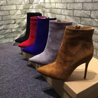 spitzen zehenstiefelstiefel großhandel-Wintermode Stiletto Boot Wildleder Spitz Booties Sexy Rote Untere Dame Peep Frauen Stiefeletten Partykleid
