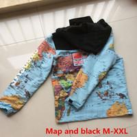 Wholesale Map Models - Wholesale- brand-clothing PALACE Jacket New sup Cooperation Models Reflective Flag Hooded brand Coat Mens Map Jackets Black And Map coat