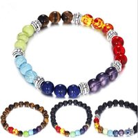 Wholesale Tiger Charms Wholesale - 2017 Hot Lava Stone Bracelets Fashion Volcano Stone Charm Jewelry 10 Styles Pumice stones Bangles Amber Tiger Eyes Turquoise Bracelet