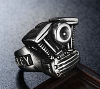 Wholesale Cool Engine - 316 stainless steel fashion cool motorcycle engine mens ring band party silver biker mens ring size 7~13