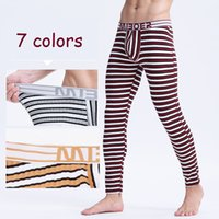Wholesale Mens Warm Underwear Long Johns - 2016 Winter Mens Warm Thermal Underwear Mens Long Johns Sexy fashion striped Thermal underpants cotton Long Johns For Man