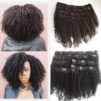 extensions de cheveux afro-américains noirs achat en gros de-Péruvienne Afro Kinky bouclés Clip dans les extensions de cheveux humains noeuds blanchis pour les femmes noires afro-américaines G-EASY