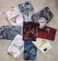 kaya pantolonu toptan satış-Ücretsiz Kargo Mens Robin Kaya Revival Jeans Kristal Çiviler Denim Pantolon Tasarımcı Pantolon erkek boyutu 30-42 Yeni