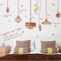 ingrosso illuminazione halloween d'epoca up-Vintage Light Bubble Wall Sticker Lamp illumina la nostra vita Decalcomania della parete Parole inglesi Citazione della parete Poster murale Carta da parati decorativa per la casa