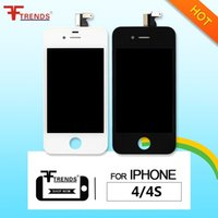 Wholesale iphone 4s full resale online - for LCD iPhone s screen LCD iPhone Touch Screen Digitizer Full Assembly with Earpiece Anti Dust Mesh Free Installed Black White DHL