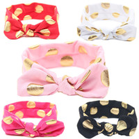 Wholesale korean red hair for sale - 2016 baby newborn infant children headbands Dot Cotton bronzing rabbit ears Turban Headband knot headwrap korean hair accessories