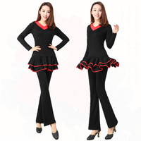 Carnival square dance skirt - New square dance clothing set long sleeved body fitness dance practice modal culottes thickened skirts in autumn and winter