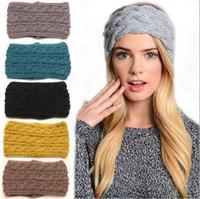 Wholesale Wool Head Flower - Newest Women Fashion Wool Crochet twist Headband Knit Hairband Flower Winter Women Ear Warmer Head wrap