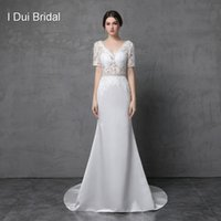 Wholesale Satin Low Back Wedding Dress - Short Sleeve V Neck Lace Sheath Wedding Dresses Low Back Satin Lace Bridal Gown with Belt Factory Custom Made Real Photo
