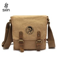 Wholesale Military Canvas Messenger Bag - Men's Vintage Canvas Leather School Military Shoulder Bag Fashion Leisure Messenger Bag Men's Crossbody Bags Hombre Bolso