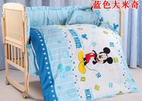 Wholesale Cot Bumpers - Wholesale-Promotion! 5pcs Mickey Mouse Baby bedding cribs for babies cot bumper kit bed around piece set