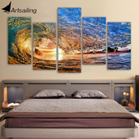 Wholesale Wave Wall Decoration - HD printed 5 piece canvas art ocean wave painting living room decoration wall art Free shipping ny-2837