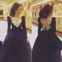 Wholesale Dress Low Back Long Sleeves - Simple Saudi Arabia 2016 Hot Sale Navy Blue Prom Dresses Puffy Sleeves Low V Back 3D flowers V Neck Party Gowns