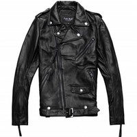 Wholesale Fall Factory Men Genuine Leather Jacket Real Cowhide Brand Casual Star Style Punk Rock Motorcycle Biker Coat Winter ZH089 Plus Size