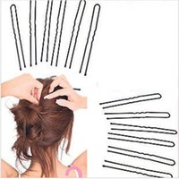 Wholesale Shape Hair Clip - Wholesale-18pcs Black Metal Thin U Shape Hairpins Bobby Pin Clips Health Hair Care Beauty Styling Tools 6cm Free shipping
