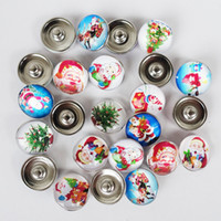 Wholesale assorted glass - 50pcs lot Mix Colors Glass Dome Assorted Christmas Day noosa chunks 18mm snap button charms for diy bracelet jewelry findings