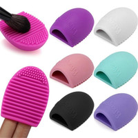 Wholesale Glove Scrubber - HIGH QUALITY!New Egg Cleaning Glove MakeUp Washing Brush Scrubber Board Cosmetic Brushegg Cosmetic Brush Egg Brush Clean tool free shipping