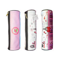 Wholesale Pencil Case Bags Students Stationery School Supplies Bag Cylinder With lovely Printing Designs Zippered Opener On Top Mouth of Box