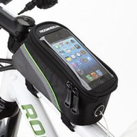 "Wholesale Mobile S Bag - Roswheel 4.2"" 4.8"" 5.5"" Inch Waterproof Black Cycling Bike Bicycle Front Phone Bag Case Holder Zip Pouch for iPhone Mobile Cell phone"