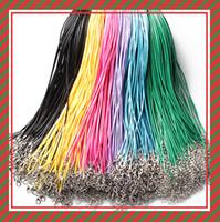 gewachstes schnurarmband diy großhandel-14 farben 50 cm Wachs Leder Halskette Perlenschnur String Seil Draht mit Karabinerverschluss halskette armbänder DIY schmuckzubehör billig 161211