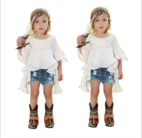 Wholesale Dress Cowboy Baby Girl - Fashion Girls Clothes Sets 2016 Girl White Tuxedo Dress+Cowboy Shorts 2pcs Kids Outfits Baby Girl Clothing Child Suit 2-7T 6sets lot