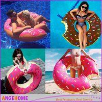 ringbojen aufblasbar großhandel-120 cm 90 cm Erwachsene / Kind Aufblasbare Schwimmring Donut Form Schwimmbad Wasser Float Floß Schwimmende Ringe Aufblasbare Schwimmen Runden Boje