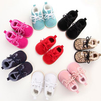 Wholesale Winter Cold Shoe - Fashion Leopard grain baby first walkers tollder infant cold winter leather plush fur boots kids non slip shoes 9colors 0-12M drop shipping