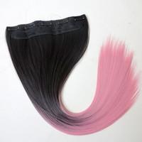волосы два хвостика оптовых-Синтетические волосы конский хвост клип в хвостики волос 22 дюймов 120 г ломбер 1bpink два тона цвета прямые наращивание волос