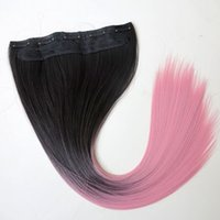 Wholesale Two Ponytails Straight Hair - Synthetic hair Ponytail clip in Ponytails hair 22inch 120g Ombre 1B&Pink two tone color straight hair extensions