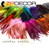 Wholesale ZPDECOR Feathers BULK SALE cm inch Good Quality Mix Colored Rooster feathers for Wedding Decoration Rooster Saddle Feathers