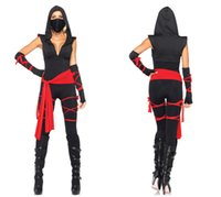 Wholesale Woman Ninja Costume - The Masked Warrior Women's Halloween Cos play Pirate Costume Black Ninja Suit Dress Sexy Hooded Costumes Evening Strap
