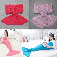 Wholesale Green Quilts - Hot Sale 180x90 cm Kids Adults Mermaid Tail Crochet Blankets Cocoon Mattress Sofa Blanket Knitted Sleeping Bags Warm Soft Material
