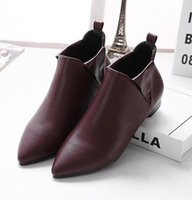 Wholesale Korean Ankle Boots Free Shipping - Europe 2017 spring and Autumn New Korean fashion shoes flat all-match pointed female boots free shipping