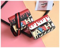 Wholesale Genuine Leather Handbags Korea - 2017 new women handbags Korea ulzzang printing Graffiti small square bag wide shoulder strap Harajuku wind Messenger bag shoulder bag