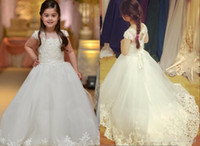 Wholesale Evening Purple Dress For Girls - Sweet Ivory Ball Gown Kids Formal Evening Gowns For Communion With Cap Sleeves Lace Appliques Sweep Train Flower Girls Dresses For Weddings