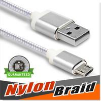 conectores macho micro usb al por mayor-Cable S8, cable micro USB, tipo C 3.1 Cable trenzado de nylon de 4 pies USB 2.0 A macho a micro conectores de carcasa de aluminio para Samsung S4 / S5 / S6 / S7