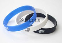 Wholesale Wholesale Costume Charm Bracelets - 100Pcs NARUTO black white blue silicone Bracelet bangle wristband anime cartoon jewelry men women cosplay costume accessories