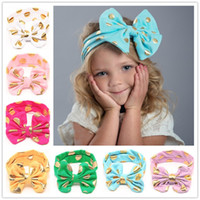 Wholesale Gold Headband Bow - Baby Girls Lovely cute Gold Dot Headbands Kids Big Wide Knotted Bow Head bands Children Infant Hair Accessories Head Wear 12 colors KHA253
